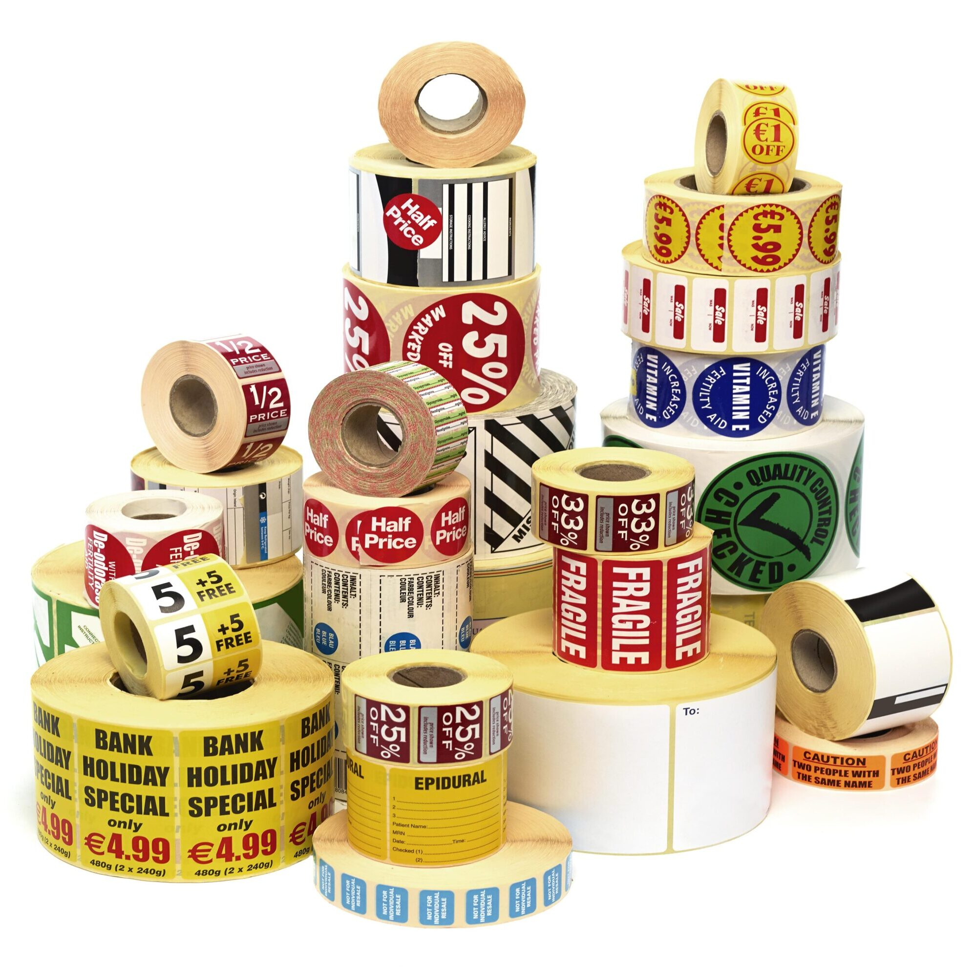 Variety of labels on a roll
